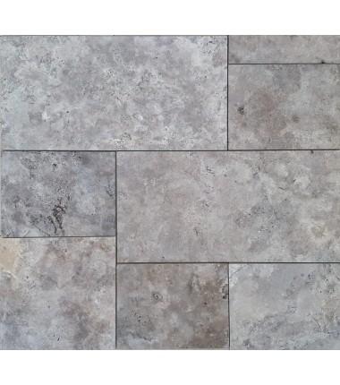 Terrassenplatten Mediterraner Travertin silber